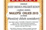 NAJLEPŠÍ CHLIEB 2015 - Pšeničný chlieb zemiakový Rada pekárov a cukrárov Slovenska, Cech pekárov a cukrárov RZS  Pezinok 2015